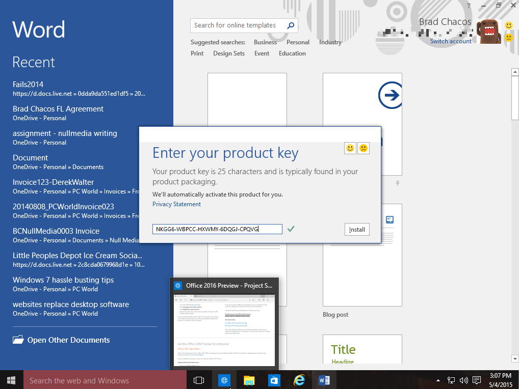 activation key for office 2016