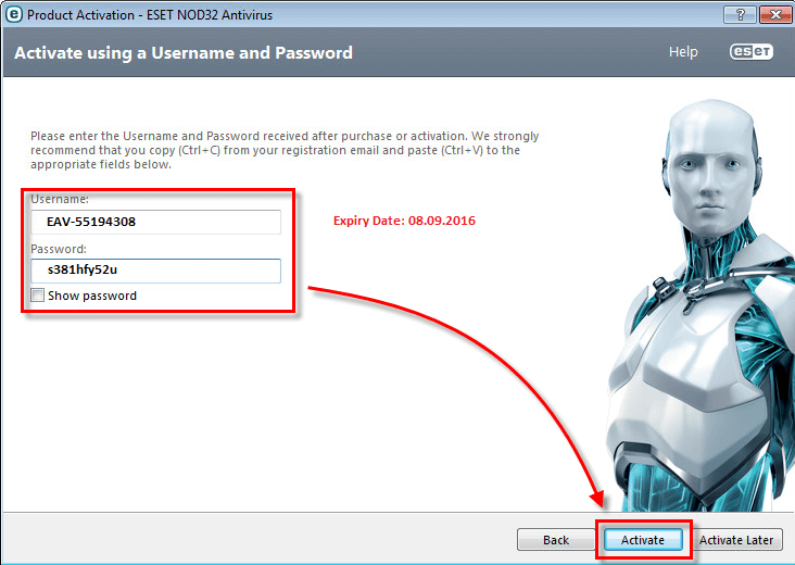 eset smart security 4-8 username and password