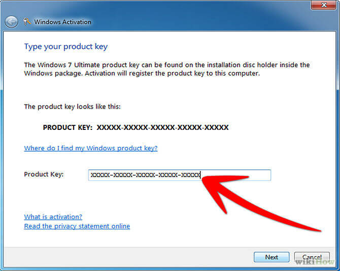 serial key to  windows 7