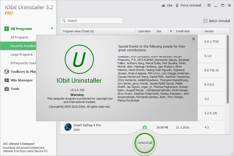 Iobit Uninstaller Pro 5.2 Serial key plus Crack