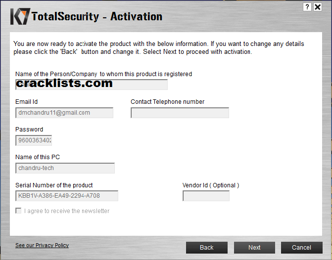 k7 total security antivirus activation key
