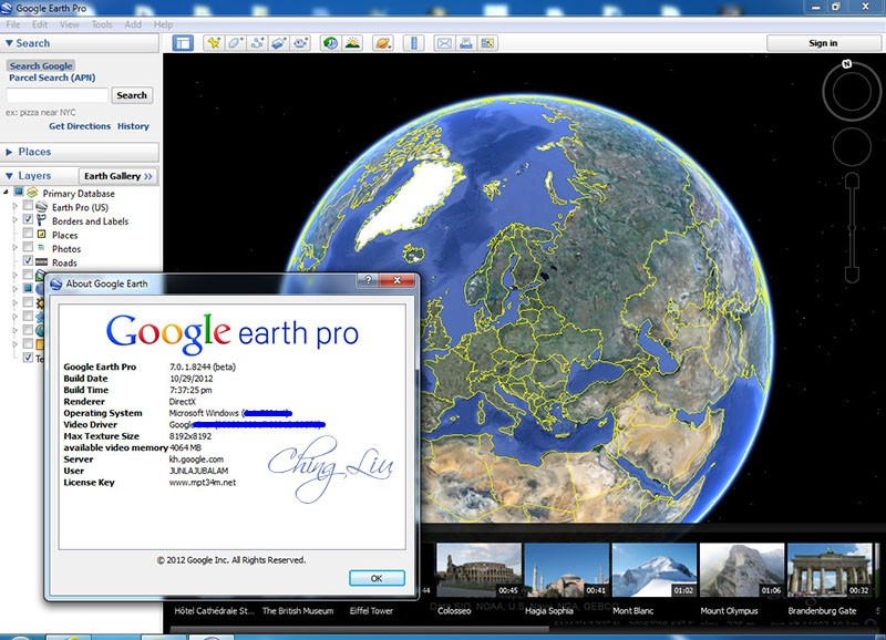 google earth pro license key and username